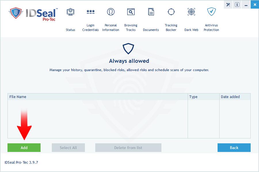 image antivirus exclude items step 2
